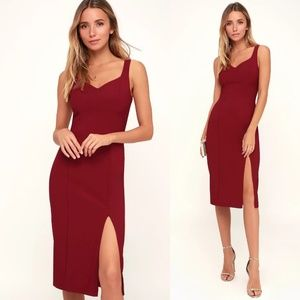 Take My Out Womens Red Sweetheart Midi LuLus Dress